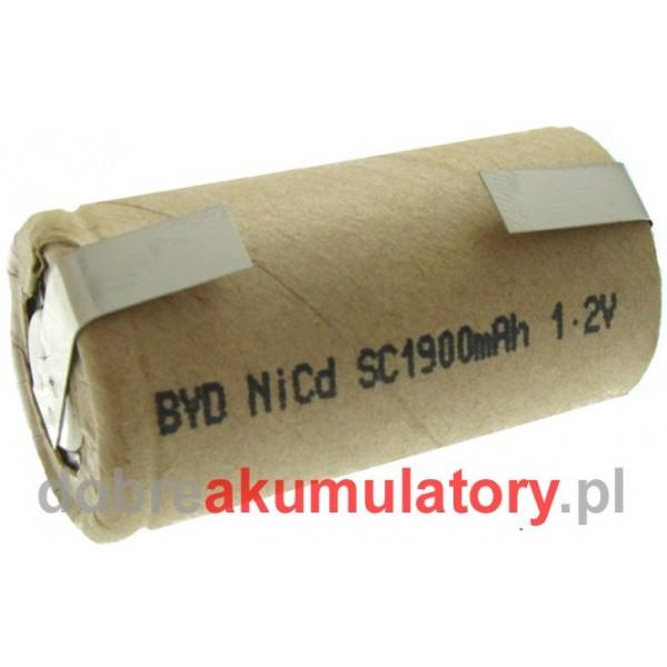 Ogniwo BYD SC1900P Ni-Cd z blaszkami przyłączeniowymi