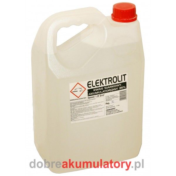 Elektrolit akumulatorowy kwas siarkowy 5 L 5000 ML